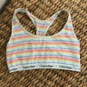 Calvin Klein Rainbow Stripe Cotton Sports Bra